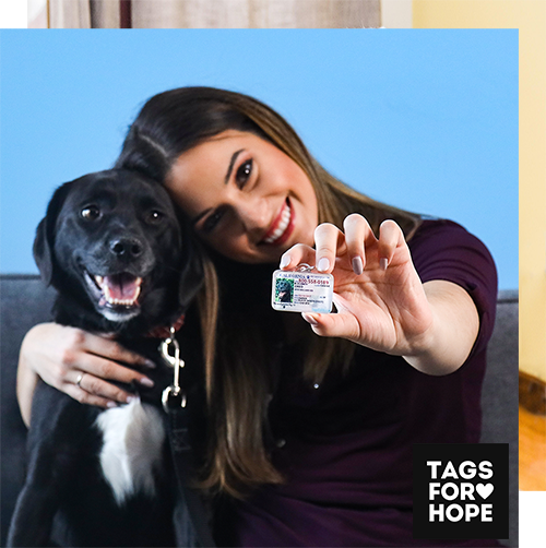 Jess and Leo showing off their tagsforhope tag