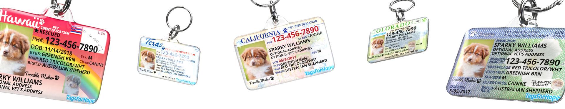 Various TagsForHope Pet ID Tag designs