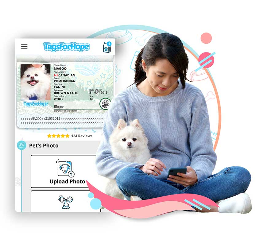 A woman and her dog customizing their pet passport on a phone. A visual of the customization process on the phone is hovering behind them.