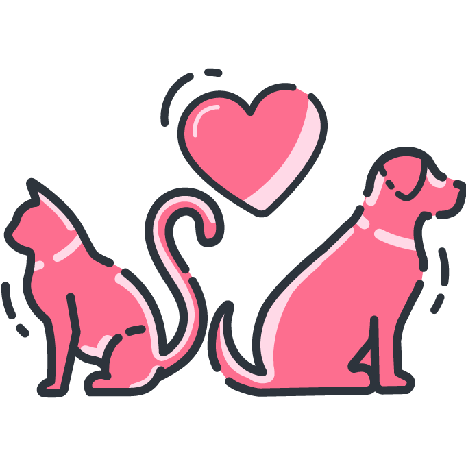 A cat and dog back to back with a heart floating above their heads