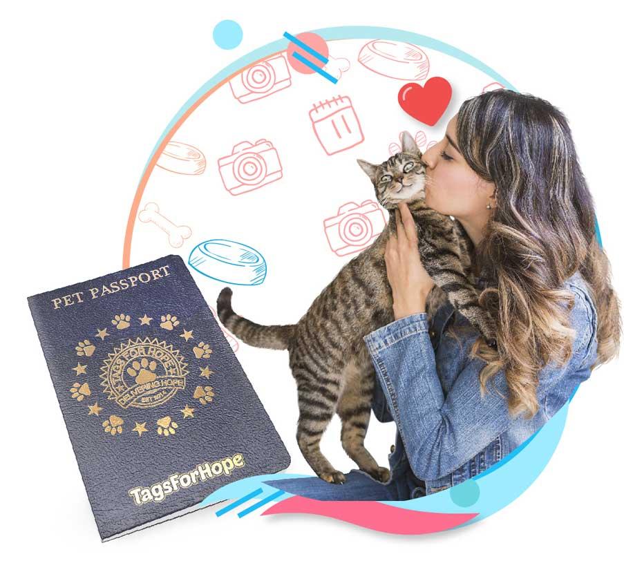 A woman embracing a cat