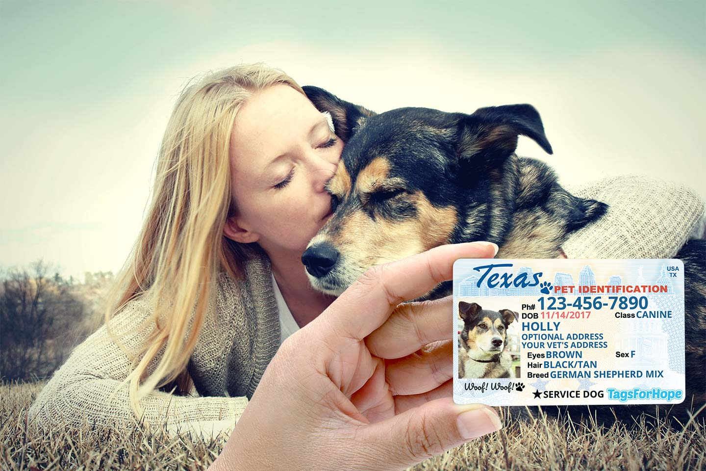 Wallet ID card shown in front of woman and dog hugging
